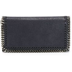 Stella McCartney 'Falabella' wallet ($335) ❤ liked on Polyvore featuring bags, wallets, blue, leather snap wallet, faux leather wallet, genuine leather wallet, blue bag and blue leather wallet