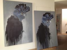 Black and Blue - 2014 - oil on canvas - another cockatoo ready to go to a new home. By Kersti Wiedermann