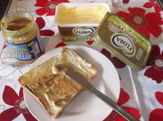 Quick Lunch: Doorstep thick fresh toasted bread, with Flora Buttery spread and a dollop of Peanut butter! Just Champion! I'm a Bzz Agent! Sarnies, Peanut Butter, Flora, Champion, Lunch, Bread, Cheese, Breakfast, Products
