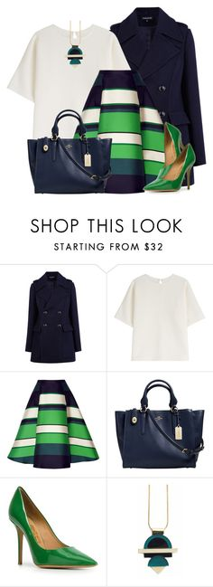 """""""Color Challenge: Blue & Green"""" by colierollers ❤ liked on Polyvore featuring Warehouse, Marina Hoermanseder, Lanvin, Coach, Salvatore Ferragamo and Nylon Sky"""