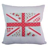 Capa almofada Bandeira Inglaterra Flor Acqua - branca