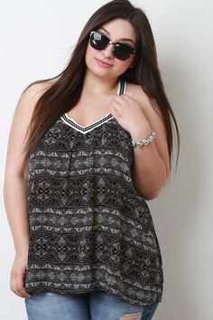 c2193012eb51c Black Tribal Printed Sleeveless Tank With Embroidered V-Neck - This plus  size top features