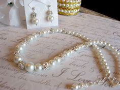 Swarovski Rhinestone and Pearl Bridal Necklace and by luminajewels, $45.00