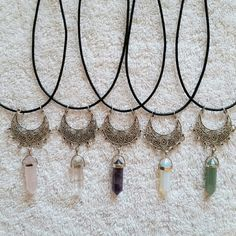 "Bohemian Moon Pendant Charm Gemstone Necklace 1 for $14 or 2 for $20! Attached on 16"" black cord. Limited quantities & colors availability. No trades! Always ship next day and discounts with bundles! Thanks for looking and happy shopping! (Not Free People,  just listed for visibility,) Brandy Melville  Jewelry Necklaces"