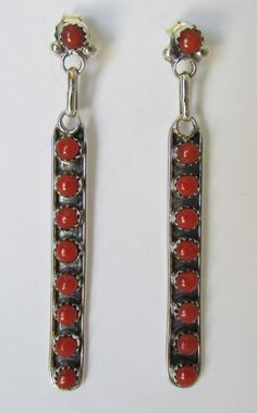 Native American Zuni Petit-Point Sterling Coral Post Earrings by Rena Laate