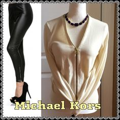 Michael Kors Sweater Cream Colored Zip Up Michael Kors Sweater. 58% Cotton 39% Rayon 2% Nylon 1% Spandex. Gently Used / Excellent Condition.  No Pay Pal  No Trades Michael Kors Sweaters