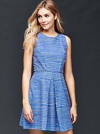 Inverted pleat fit & flare stripe dress