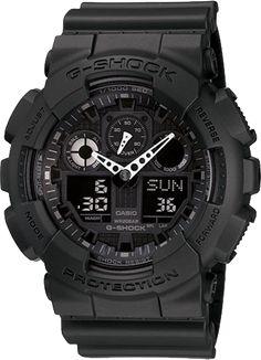 G-Shock GA100-1A1 Black White Hands Analog Digital