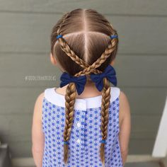 """Toddler Hair Ideas (@toddlerhairideas) on Instagram: """"It was a BRAID day! French braids, criss-crossed braids, and piggy braids!  Adorable little bows…"""""""