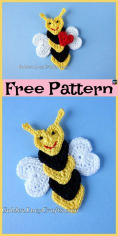 These Crochet Applique Bees are such a great way for decoration, they can be stitched onto any beautiful blanket, or a favorite piece of clothing. Crochet Giraffe Pattern, Crochet Shark, Minion Crochet, Crochet Unicorn, Cute Crochet, Crochet Crafts, Crochet Projects, Knitting Patterns, Crochet Patterns