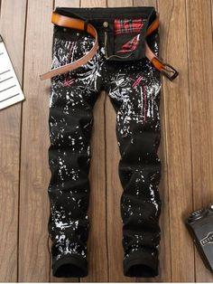 Dragonfly Embroidered Printed Slim Fit Jeans Black Jeans Men 9ee31ce5d