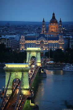 Budapest, Hungary. This bridge crosses over the Danube River and actually connects the west-bank Buda with the east-bank Pest (which became a single city in 1873).
