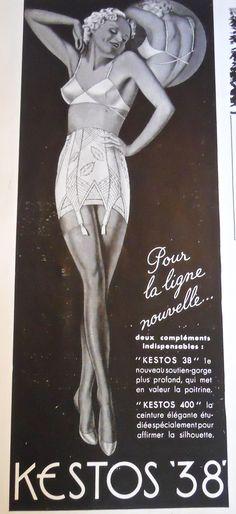 1938 Kestos lingerie ad, Plaisir de France magazine