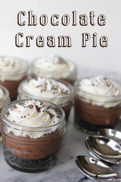 Mini Chocolate Cream Pies - so good! Perfect for parties!
