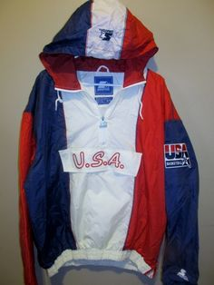 Vintage Starter Team USA Basketball Hooded jacket , Deam Team II , X-large - Basketball-NBA