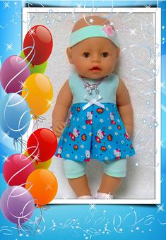 Dress for Baby Born doll, 3 pcs. Doll and shoes are not included.