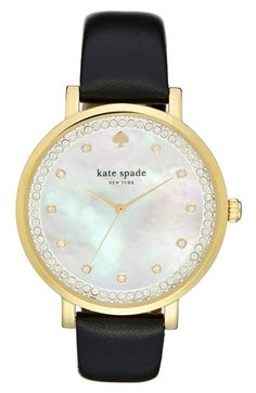 kate spade new york 'monterrey' leather strap watch, 38mm at Nordstrom.com. Sparkling crystals mark the hours and ring the mother-of-pearl dial of a polished round watch set on a smooth leather strap.
