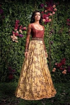 yellow and brown anarkali , scoop neck gown for cocktail , reception gown , embroidered gown