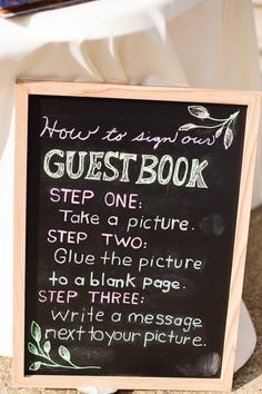 Wedding guestbook chalkboard sign idea - colorful chalkboard sign with wedding guestbook instructions {Angie McPherson Photography}