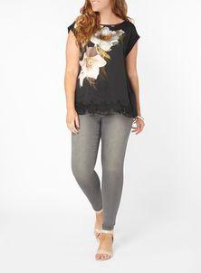 Live Unlimited Black Floral T-Shirt