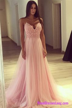 Elegant A-Line Sweetheart Pink Tulle Long Prom Dress With Lace PD20191317