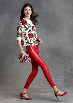 ~ Cute Rose Printed Shirt with Red Leather Pants : Dolce and Gabbana 2016 Winter Collection ~