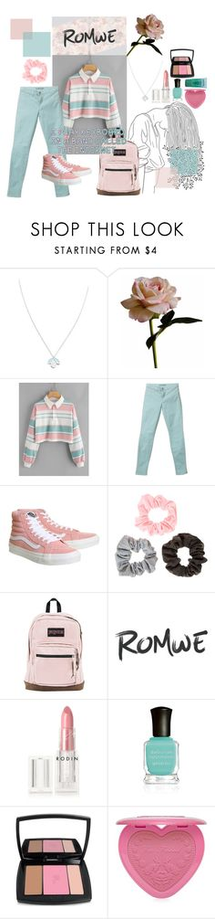 """*;. teenage stripes .;*"" by imchaoticneutral ❤ liked on Polyvore featuring Wolf & Moon, Abigail Ahern, J Brand, Vans, JanSport, Kale, Rodin, Deborah Lippmann, Lancôme and Too Faced Cosmetics"