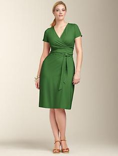 Plus Size Dresses | Plus Size Clothing at Talbots.com------I'm not really sure how this model is plus size but I never turn a green dress down.