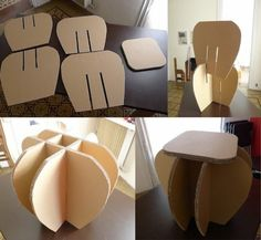 Are you looking for ideas for creative and eco-friendly furniture? Then browse through our 60 suggestions for charming cardboard furniture. Cardboard Chair, Diy Cardboard Furniture, Paper Furniture, Cardboard Design, Cardboard Paper, Types Of Furniture, Cardboard Crafts, Retro Furniture, Unique Furniture