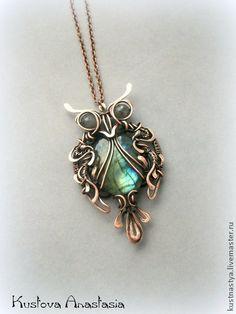 """Кулон-брошь wire wrap """"Owl"""". Handmade. #wirewrap #wirework #jewelry #owl"""