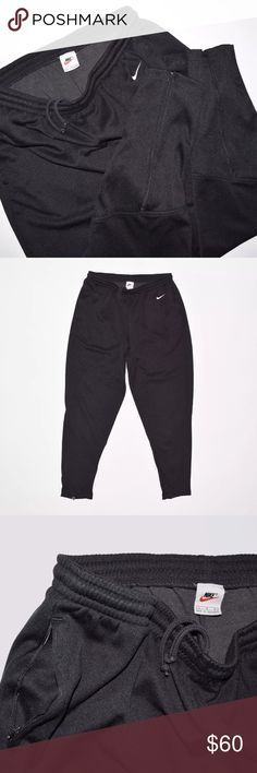 Rare 90's Vintage Nike Athletic Tech Jogger Pants Brand: Nike Item name: Rare 90's Vintage Athletic Tech Jogger Pants  		 Color: Black Condition: This is a pre-owned item. They are in excellent used condition with no stains, rips, holes, etc. Comes from a smoke free household. Size: Large Material: 87% polyester / 13% cotton Measurements laying flat:  Waste - 15 inches (elastic) fully expanded 22 inches Rise - 12 inches Inseam - 31 inches Top to Bottom Length - 41 inches Leg Opening - 5.5…