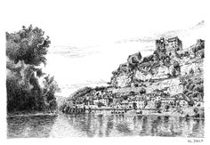 Nicholas Jolly,  Black ink drawing – La Dordogne et Beynac.