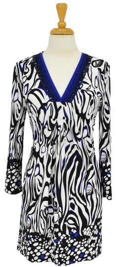 Blue Black White Tunic~ Best selection of Tunics & matching accessories ~ Flat postage worldwide ~ Petite to Plus sizes ~ www.ilovetunics.com