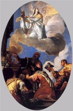 Religio and Fides (Religion and Faith) - Paolo Veronese.  1575-77.  Oil on canvas.  320 x 200 cm.  Palazzo Ducale, Venice, Italy.