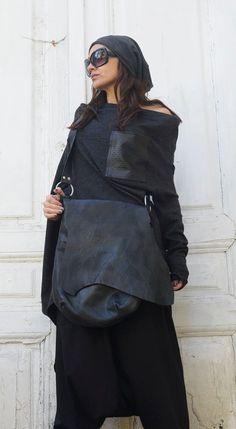 Cruz cuero negro bolsa / extravagante bolso de cuero negro y