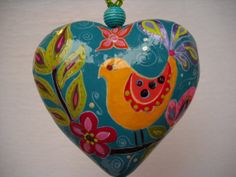 Boho Handpainted Paper Mache Heart by BoHoExpressions on Etsy, $23.00