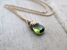 Peridot Necklace In 14K Gold Filled Wire Wrapped by SaressaDesigns, $42.00