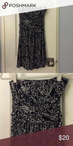 SALE - The Limited Strapless Dress Black and cream floral graphic. Lightly worn and washed 2-3 times, in great condition. 100% rayon with 100% polyester lining. The Limited Dresses Strapless