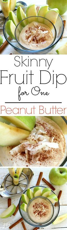 The BEST Skinny Peanut Butter Fruit Dip for One | A healthy, high protein dip recipe made with plain Greek yogurt and other clean eating ingredients! This easy and low carb powdered peanut butter (PB2, PBFit, NakedPB) dip will quickly become your favorite snack! It's perfect for dipping fruit like apples, bananas, or strawberries. Sprinkle your fruit with a little ground cinnamon before dipping! Delicious!