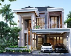 Henry Private House Design- Jakarta- Quality house design of architectural services, experienced professional Bali Villa Tropical designs from Emporio Architect. House Arch Design, 2 Storey House Design, Home Building Design, Bungalow House Design, Modern House Design, Modern House Facades, Modern Architecture House, Architecture Design, Classic House Exterior