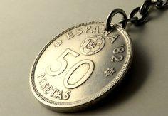 Coin keychain Spanish keychain Vintage keychain by CoinStories
