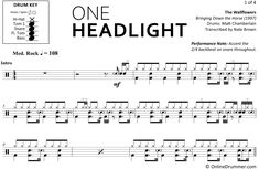 "The full drum sheet music for ""One Headlight"" by The Wallflowers from the album Bringing Down the Horse Drum Sheet Music, Drums Sheet, Drum Key, Music Stand, Ready To Play, Your Music, You Are Awesome, Note, Album"
