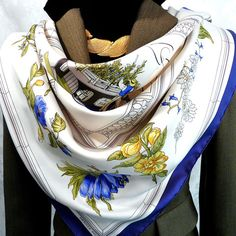 Authentic Vintage Hermes Silk Scarf Quai aux Fleurs Hugo Grygkar 1952 Early Issue Blue