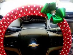 Steering Wheel Cover in Red and White Polka by TurtleCoveStudio Christmas Car Decorations, Nissan Pathfinder, Wheel Cover, 16th Birthday, Car Accessories, Baby Car Seats, Red And White, Sewing Projects, Polka Dots