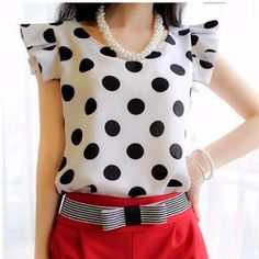 Brand Name: SPARSHINE Material: Spandex,Cotton Clothing Length: Regular Style: Casual Fabric Type: Chiffon Sleeve Length(cm): Short Decoration: None Pattern Type: Polka Dot Collar: Ruffled Sleeve Style: Butterfly Sleeve Gender: Women Gender: Women Color Style: Natural Color