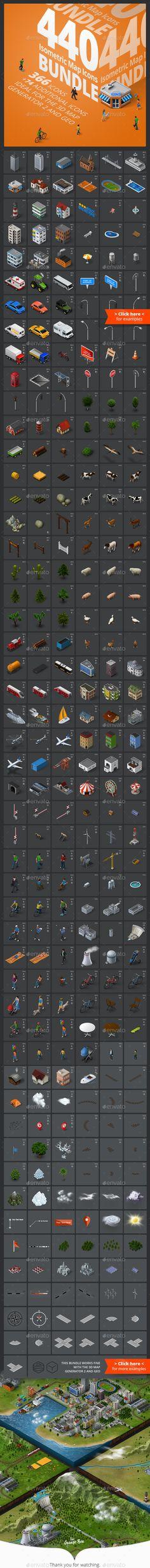Isometric Map Icons - Bundle #design Download: http://graphicriver.net/item/isometric-map-icons-bundle/13742256?ref=ksioks