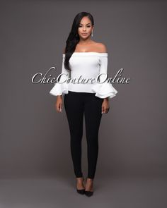 Chic Couture Online - Sashanie Off-White Long Bell Sleeves Off-The-Shoulder Top, $45.00 (http://www.chiccoutureonline.com/sashanie-off-white-long-bell-sleeves-off-the-shoulder-top/)