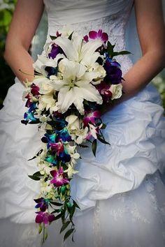 Cascading Bouquet - Wedding Spotlight: Anjanette + Jason   Magical Day Weddings   A Wedding Atlas Fan Site for Disney Weddings