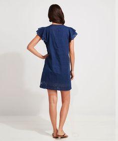 Shop Burnout Vineyard Tunic Dress at vineyard vines Double Ruffle, Embroidered Tunic, Platform Sneakers, Vineyard Vines, Feminine, Shirt Dress, Casual, How To Wear, Shopping