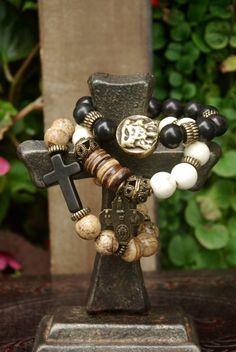 3 strand bracelet setGemstone beads bracelet by chicsistersdesigns, $75.00